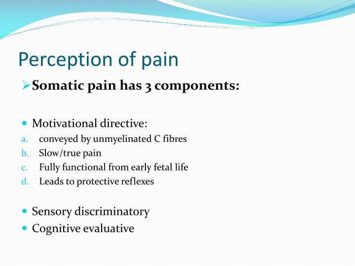 Perception of pain