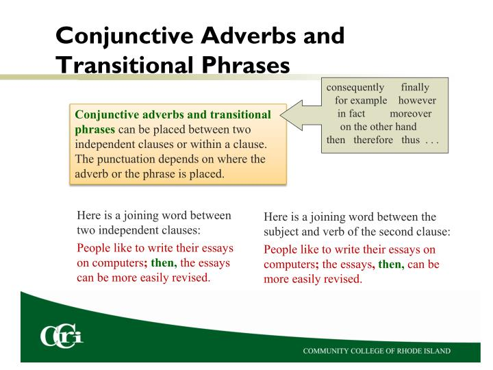 Conjunctive Adverbs and Transitional Phrases