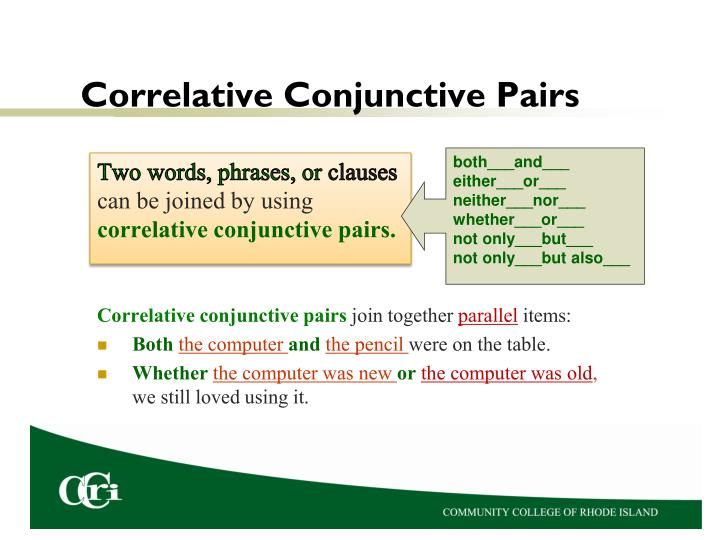 Correlative Conjunctive Pairs