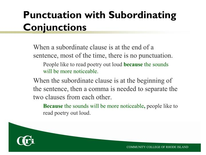 Punctuation with Subordinating Conjunctions