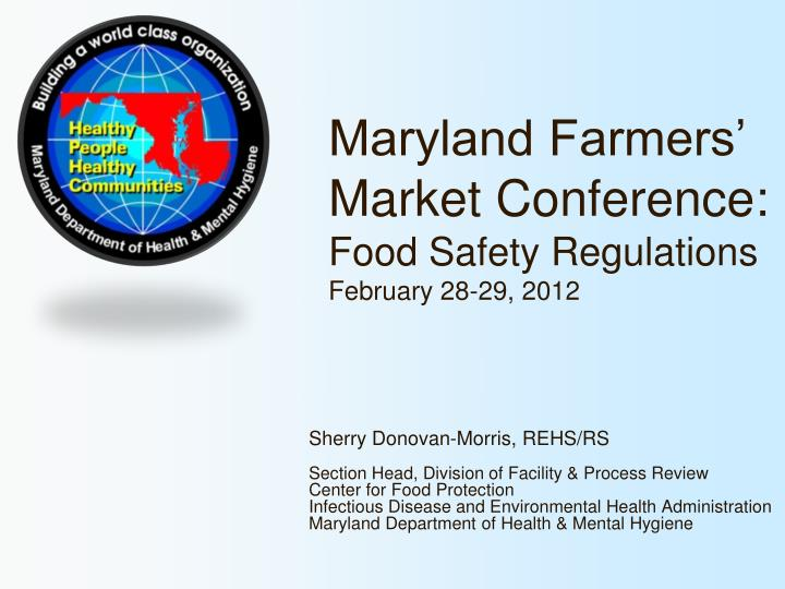 Maryland farmers market conference food safety regulations february 28 29 2012