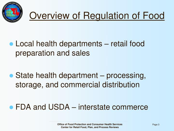 Overview of regulation of food