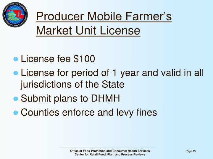 Producer Mobile Farmer's Market Unit License