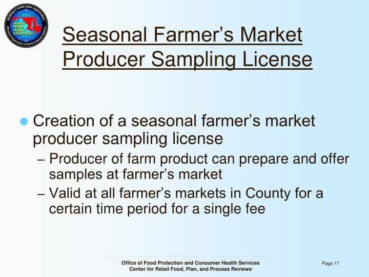 Seasonal Farmer's Market Producer Sampling License