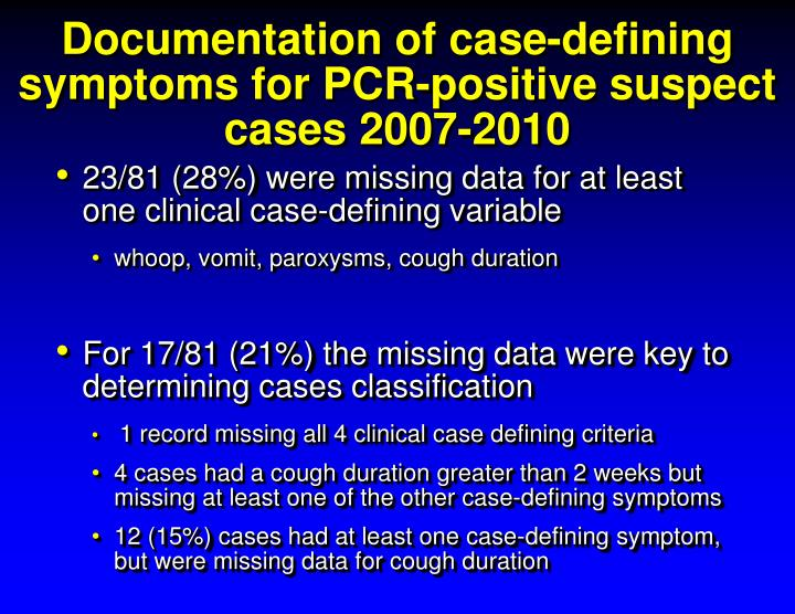 Documentation of case-defining symptoms for PCR-positive suspect cases 2007-2010