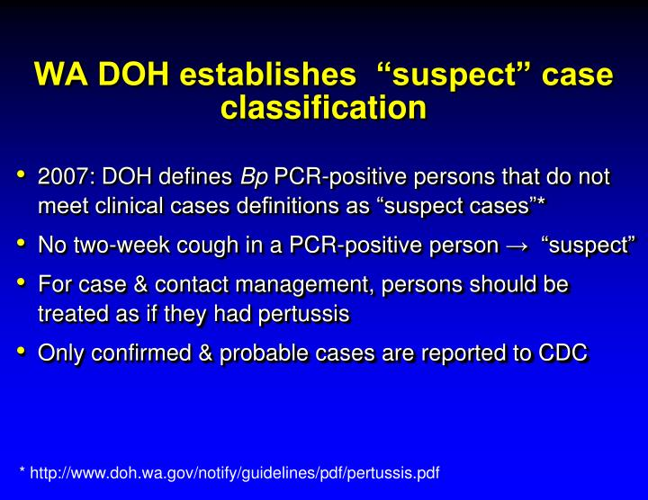 "WA DOH establishes  ""suspect"" case classification"