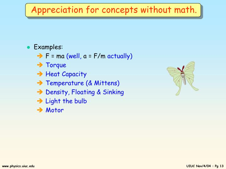 Appreciation for concepts without math.