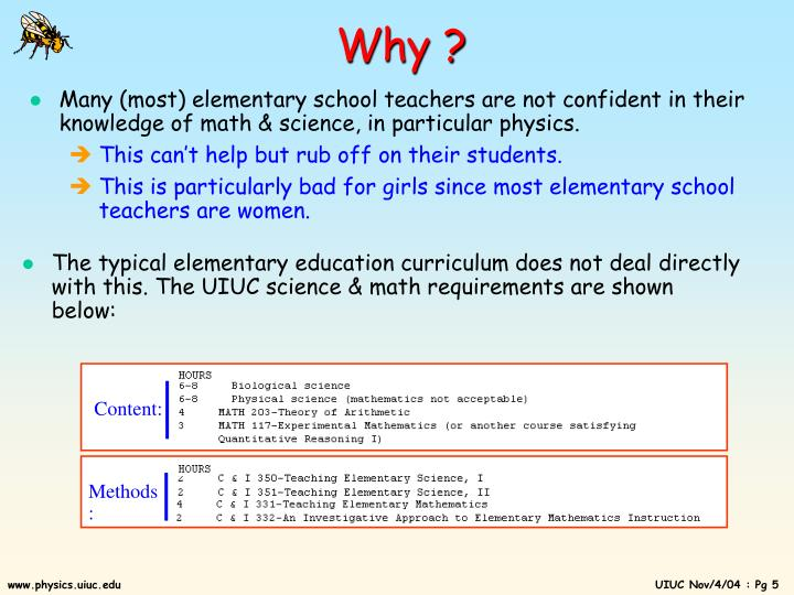 The typical elementary education curriculum does not deal directly with this. The UIUC science & math requirements are shown below: