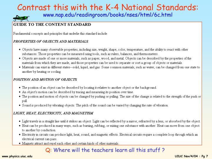 Contrast this with the K-4 National Standards: