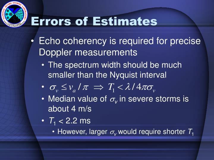 Errors of Estimates