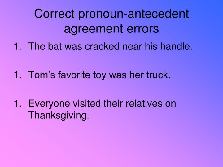 Correct pronoun-antecedent agreement errors