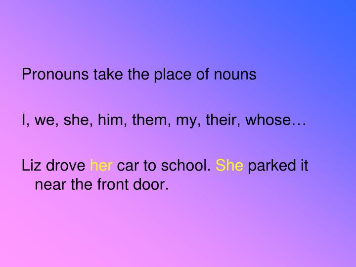 Pronouns take the place of nouns