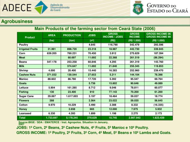 Main Products of the farming sector from Ceará State (2006)