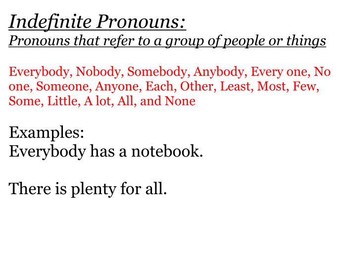 Indefinite Pronouns:
