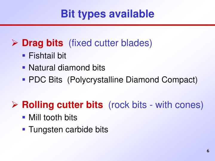 Bit types available