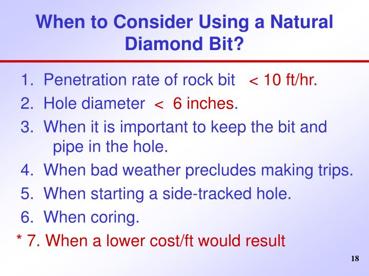 When to Consider Using a Natural Diamond Bit?