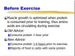 before exercise