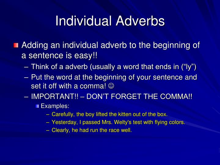 Individual Adverbs