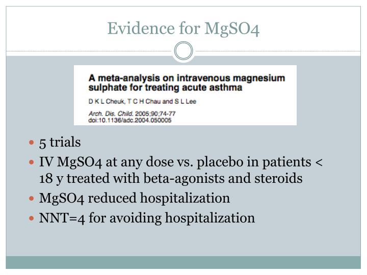 Evidence for MgSO4