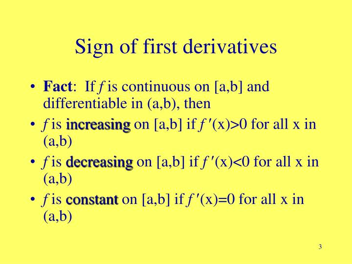 Sign of first derivatives