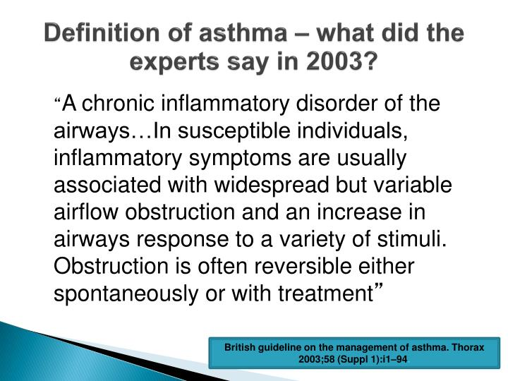 Definition of asthma – what did the experts say in 2003?