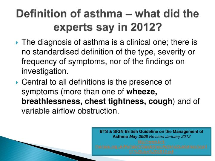 Definition of asthma – what did the experts say in 2012?