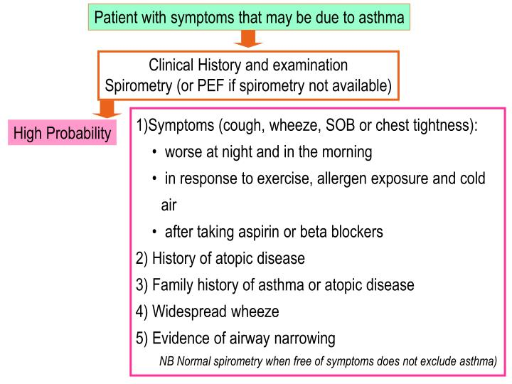 Patient with symptoms that may be due to asthma