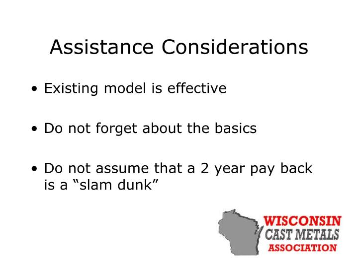 Assistance Considerations