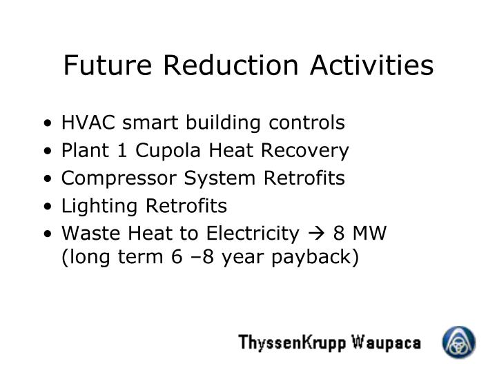 Future Reduction Activities