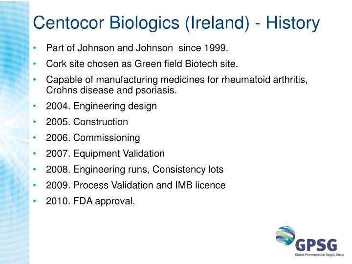 Centocor biologics ireland history