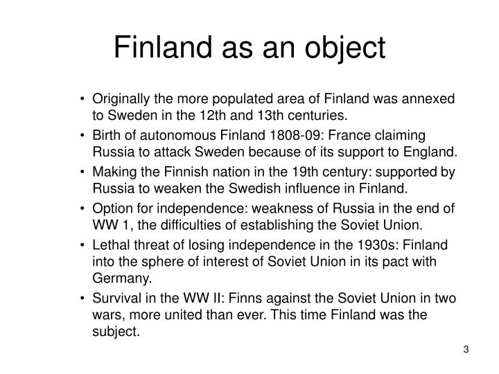 Finland as an object