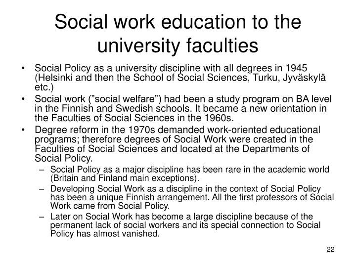 Social work education to the university faculties