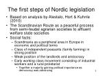 the first steps of nordic legislation