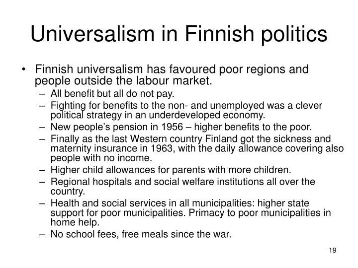 Universalism in Finnish politics