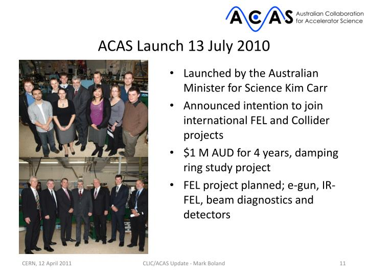 ACAS Launch 13 July 2010