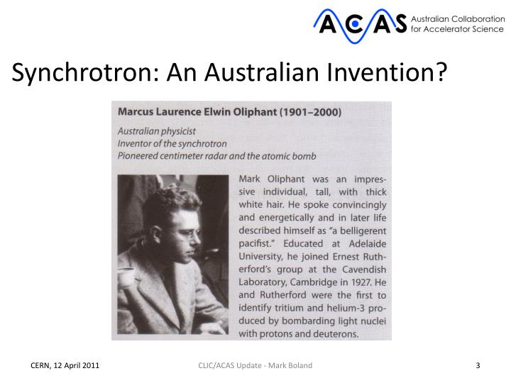 Synchrotron: An Australian Invention?