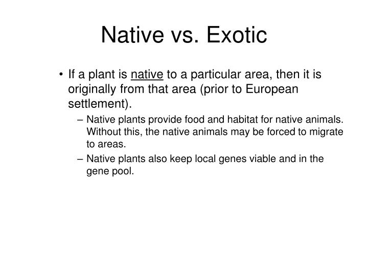 Native vs. Exotic