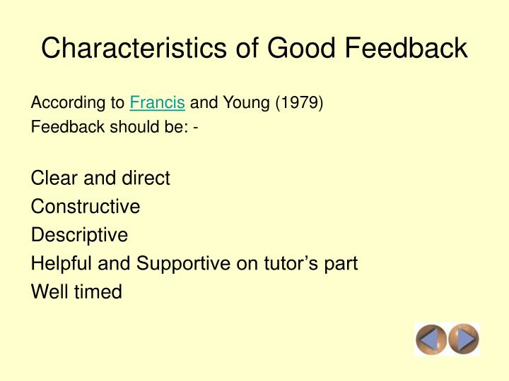 Characteristics of Good Feedback