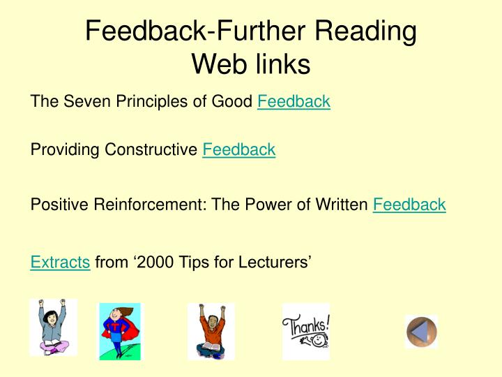 Feedback-Further Reading