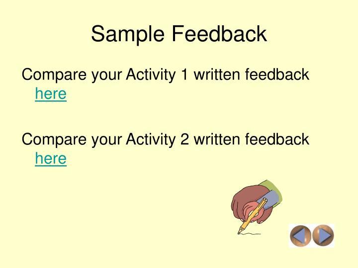 Sample Feedback