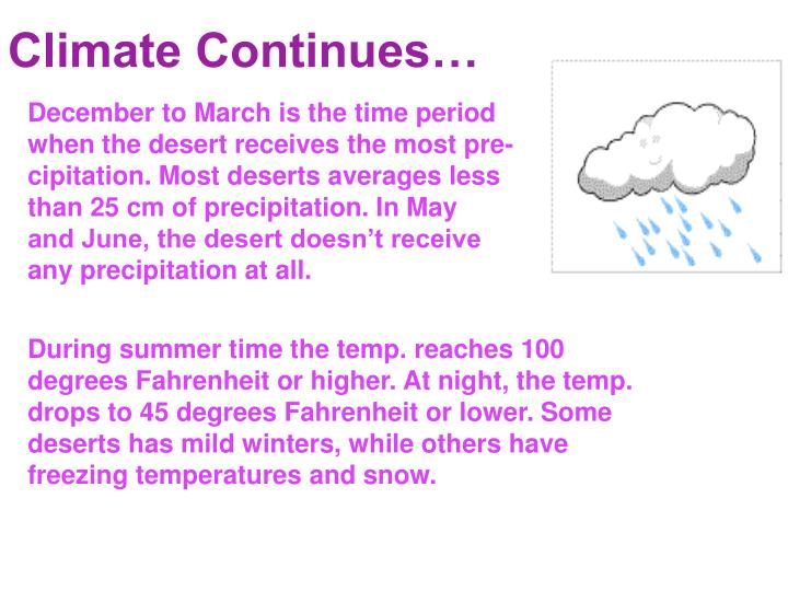 Climate Continues…