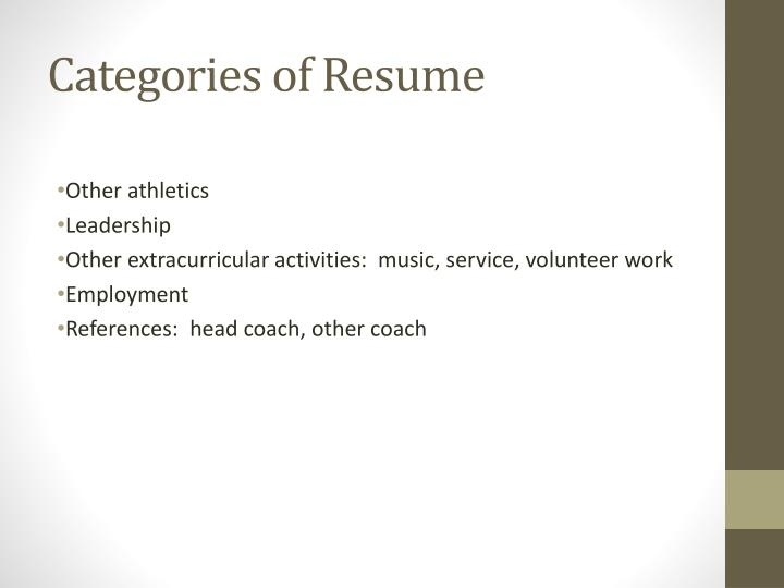 Categories of Resume