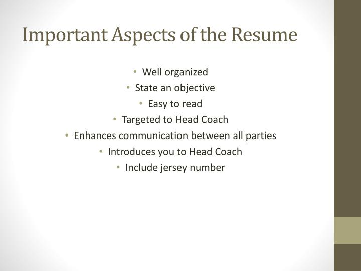 Important aspects of the resume