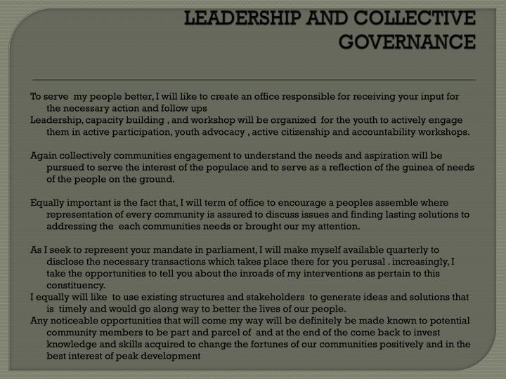LEADERSHIP AND COLLECTIVE