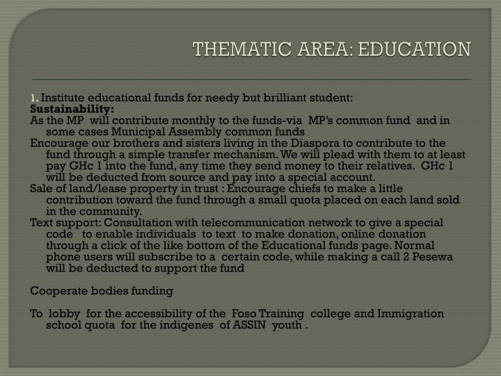 THEMATIC AREA: EDUCATION