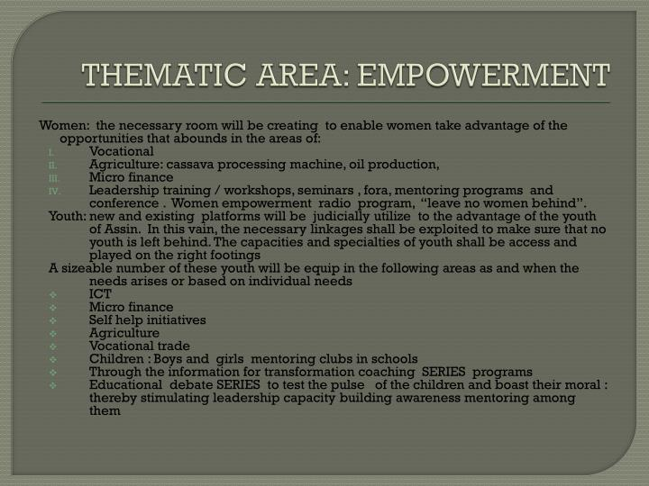 THEMATIC AREA: EMPOWERMENT