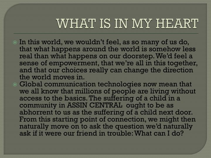 WHAT IS IN MY HEART