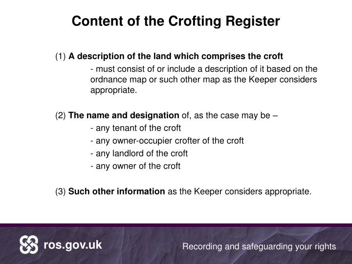 Content of the crofting register