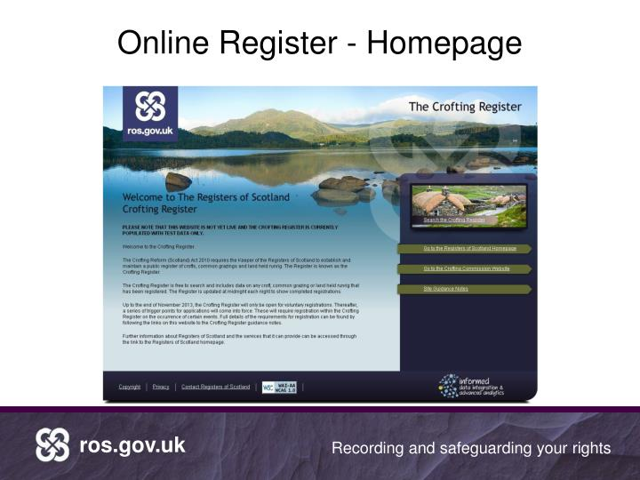 Online Register - Homepage