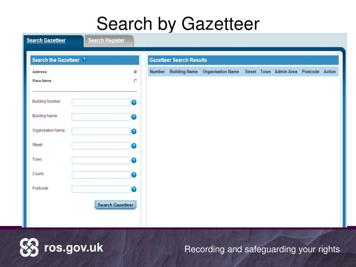Search by Gazetteer